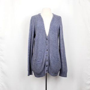 Wallace Blue Gray Cotton Blend Cardigan Sweater
